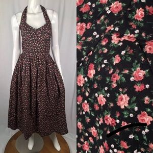 Vintage 90s Grunge Floral Rose Halter Maxi Dress